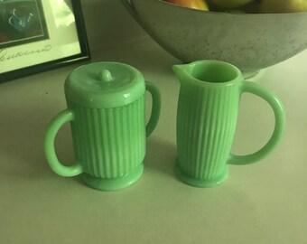 Vintage jadeite green cream and sugar set