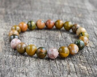 Ocean Jasper Bracelet, Gemstone Bracelet, Mens Bracelet, Womens Bead Bracelet, Stacking Healing Stone Yoga Bracelet, Gifts