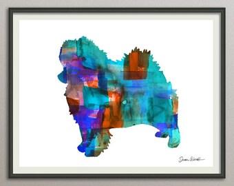 pomeranian art print watercolor print  silhouette painting print poster wall art decor drawing, dog wall art poster