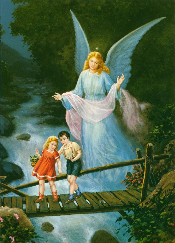 Guardian Angel with Boy and Girl crossing bridge Religious Art