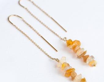 Raw Ethiopian Opal Earrings - Ear Thread Earrings - Ear Threader - Minimal Jewelry - Long Gold Dangle Earring - October Birthstone Jewelry