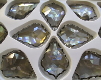 5 Asfour Satin Grey French Cut 38mm Chandelier Crystals Pendant Prisms Gray - 38mm Satin French Pendalogues Pendeloques