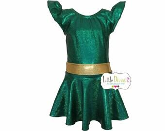 X-Mas Green/Gold  (Child) Flutter Sleeve Leotard & Skirt....