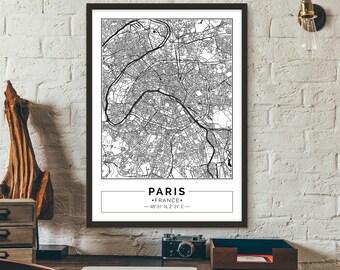 Paris, France, City map, Poster, Printable, Print, Street map, Wall art