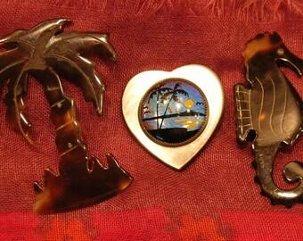 Heart  Florida Palm Tree & Sea Horse Pins Vintage