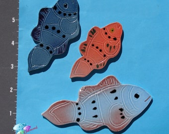 3 Fish -Kiln Fried Handmade Mosaic Tiles for your Mosaic Projects M1109