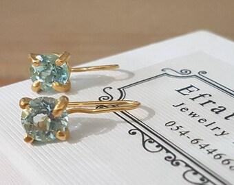 Blue Topaz earrings, December birthstone earrings, Topaz earrings, light blue earrings, antique earrings,  gemstone earrings, solitaire