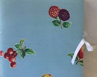Recipes Notebook with vintage fabric binder, one of a kind!