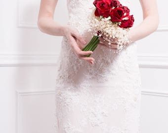 Limited Edition Bridal Bouquet of Red Silk Roses with Bubble Pearls - Wedding Bouquet, Wedding Flowers