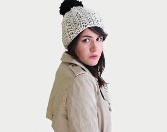 Pom pom Hat - Hand Knit Hat - Pom Pom Beanie - Chunky Knit Beanie - Pompom Unisex Winter Hat in Marble & Black   The Ursa Minor Hat  