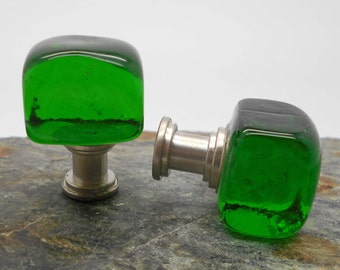 Knobs, Glass Knobs, Cabinet Knobs, Green Glass Cube Cabinet Knobs - Cube, Kitchen, Bathroom, Green, Glass Knobs, Chunky Knobs
