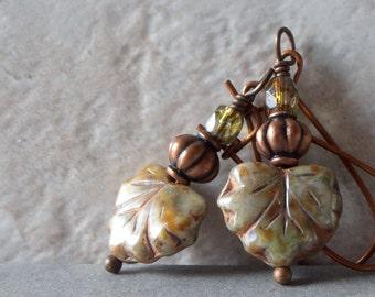 Leaf Earrings Czech Glass Dangles Rustic Beaded Jewelry Green Maple Leaf Dangle Earrings Antiqued Copper and Glass Bead Jewelry Handmade