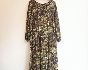 Vintage retro maxi bohemian hippie paisley dress S