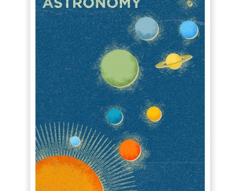 "Girls Science Art, Art for Boys Room, Wall Art, Astronomy Art Print 8"" x 10"" Retro Science Print, Astronomy Print for Boys Room, Girl Decor"