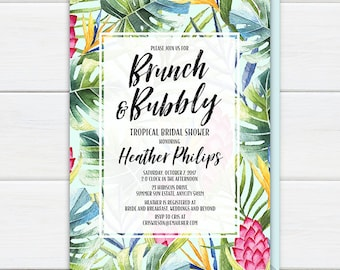 Tropical Brunch and Bubbly Invitation, Tropical Palm Leaves Flowers Brunch and Bubbly Invite, Aloha Luau Hawaiian Printable Invitation