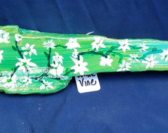 Green w/Yellow with White Flowers on a Vine Painted Driftwood Wall Hanging
