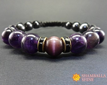 Amethyst bracelet Purple gemstone February Birthstone Meditation bracelet Yoga bracelet  Romantic bracelet Crown chakra Healing crystals