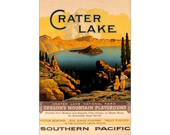 Southern Pacific Railroad Crater Lake 1923 Oregon Vintage Poster Print Art Travel National Parks Advert Free US Post  Buy 3 Get 1 Free