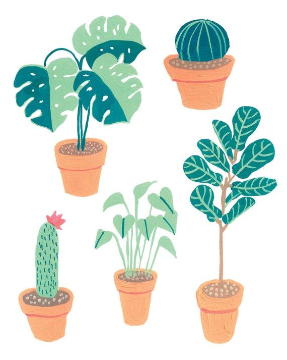 Houseplant Plant Lady Cactus Mostera Fiddle Leaf Fig Art Print 8x10