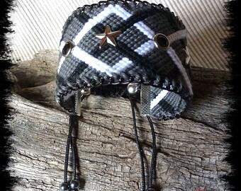 Black, grey and white Friendship Bracelet cuff
