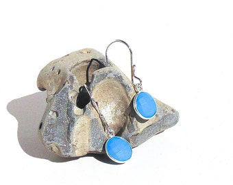 SALE - Sterling Silver Turquoise Earrings - Faceted Turquoise Dangle Earrings