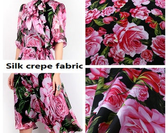 Wholesale -SALE, Black Silk Fabric with Pink Rose Style, Silk Crepe Fabric, for Wedding-55 inches wide