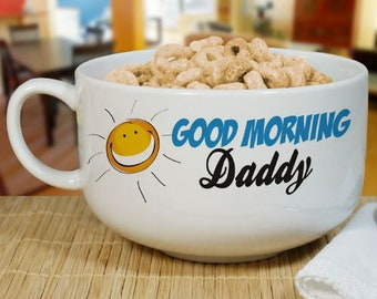 Personalized Ceramic Cereal Bowl, ceramic bowl, personalized, white, bowl with handle, kitchen, dishware, for kids, Good Morning -gfyU429423