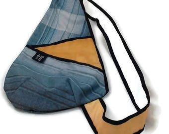 Yellow back beige small handbag, grey blue