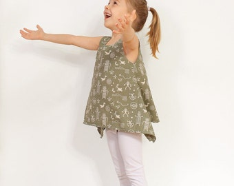 PDF Tunic pattern - girls blouse l hippie shirt tutorial - 2 to 9 years