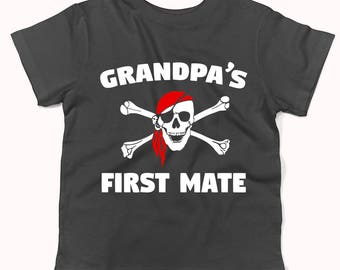 Grandpa's First Mate Pirate Skull And Crossbones Baby T-Shirt