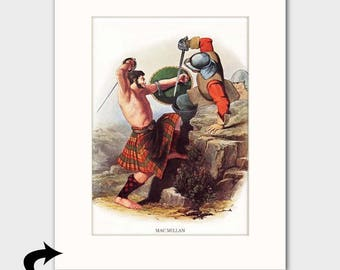 Clan MacMillan Family Art Print w/Mat (Scottish Battle Scene, Gift for Mens Office Wall Decor) --- Matted Scotland Art