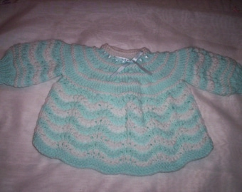 Hand Knitted Baby Girls Dress - Blue (for age 0 - 6  months)