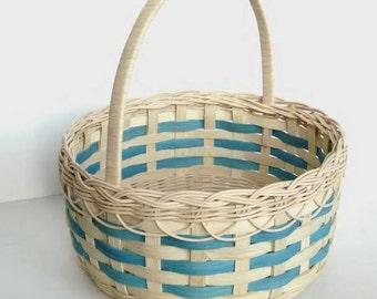 Large Easter Basket - Teal Round Basket  -  Wicker Basket - Primitive Decor
