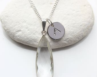 April Birthstone Necklace - Personalised Jewelry - Clear Crystal Teardrop Pendant - Birthstone Jewelry - Sterling Silver Bezel Teardrop  A56