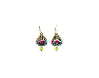 Heart-shaped earring in strong colors - Coated brass with swarovski crystals - hand painted - glass beads - handmade by Adaya Jewelry