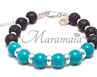 Turquoise and Lava stone Sterling Silver Bracelet, gifts for her, Mothersday bracelet, Valentine's bracelet, Air Element,  healing bracelet