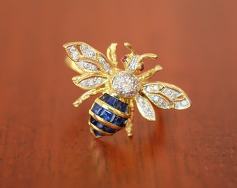 Blue Sapphire Cocktail Diamond 18K Yellow Gold Bee Ring [R0120]