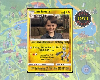 Pokemon Hakamo-o OR Elekid Custom PERSONALIZED Birthday Party Invitation Digital Download PRINTABLE