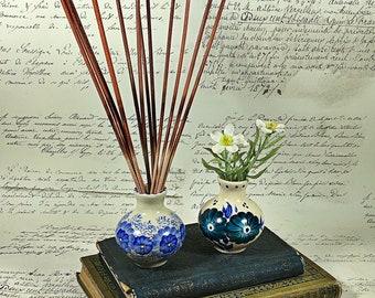Vintage handmade artist small pottery vase set of two Polish flower design blue teal pot vase  miniature 1980