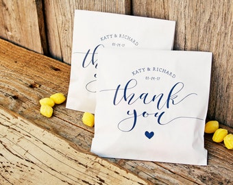 Personalized Wedding Thank You Bag - Sweet Heart Thank You Design - Custom Printed Wax Lined Paper Bags - 20 White Favor Bags included