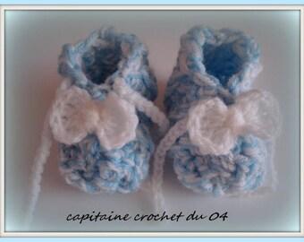 baby booties crochet newborn/baby blue booties white wool/hand/slippers newborn/baby booties wool baby/birth gift made