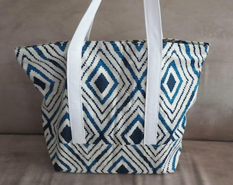 FREE SHIPPING ALWAYS - Blue and white ikat print tote bag, cotton bag, reusable grocery bag, knitting project bag, beach bag