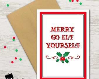 Naughty xmas card etsy merry go elf yourself funny christmas card naughty and nice cheeky merry christmas holiday cards xmas cards funny greeting cards solutioingenieria Images
