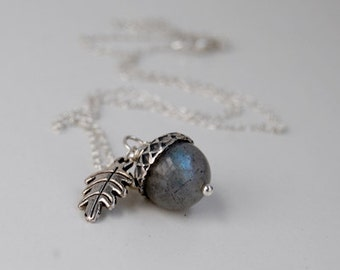 Labradorite and Silver Acorn Necklace | Gemstone Jewelry | Labradorite Acorn Necklace | Fall Acorn Charm Necklace | Nature Jewelry