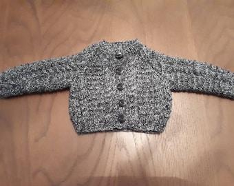 Black fleck newborn aran cardigan