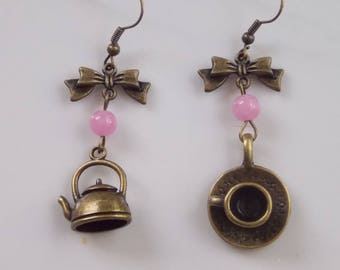 Earrings: tea time.. .a rose (jade beads)