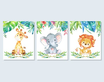 Baby Animal Safari Nursery Art Jungle Print Set, Giraffe Elephant Lion Baby Shower Decor Printable Wall Art 5x7 8x10 A4 Digital Download