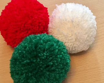 Christmas Pom Poms, 85mm Pom Poms, Red Wool Pom Pom, White Pom Pom, Green Pom Pom, Pom Pom Decorations, Handmade Pom Poms, Christmas Crafts