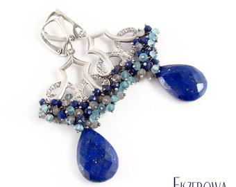 Rukan - silver earrings with lapis lazuli, labradorite and apatite