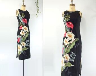 60s Hawaiian Dress Bark Cloth Dress Black Floral Dress Sheath Dress Vintage Summer Dress Iolani xs